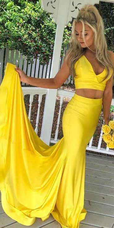 Two Piece Mermaid Yellow V Neck Satin Sleeveless Long Satin Prom Dress M833