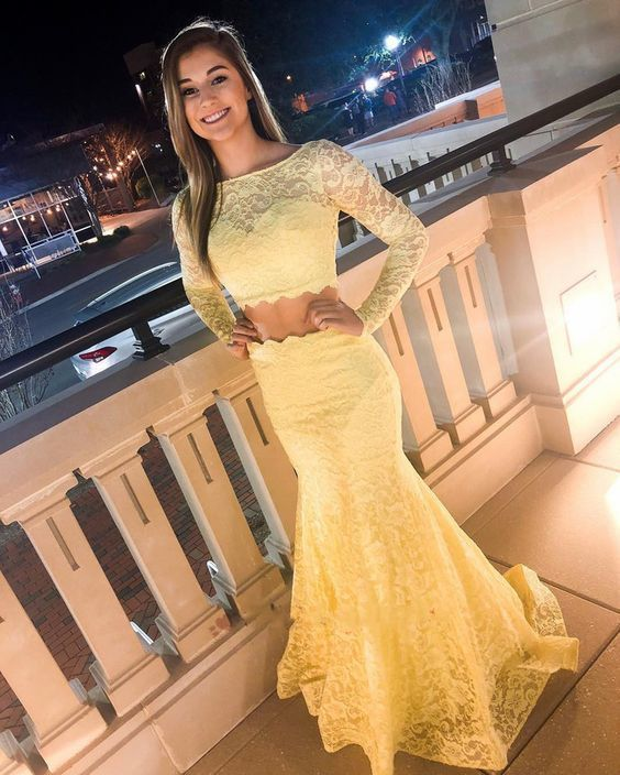 Long Sleeve Lace Yellow Two Piece Prom Dress M835
