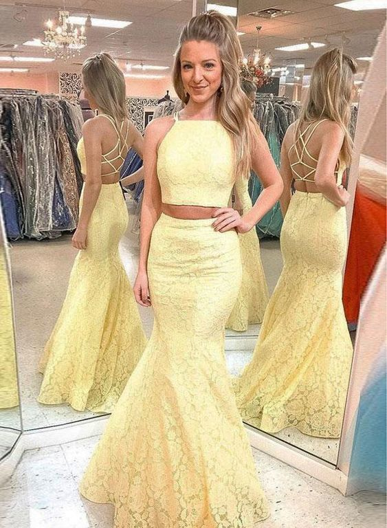 Charming Prom Dress,Yellow Prom Dress,Two Pieces Prom Dress, M836