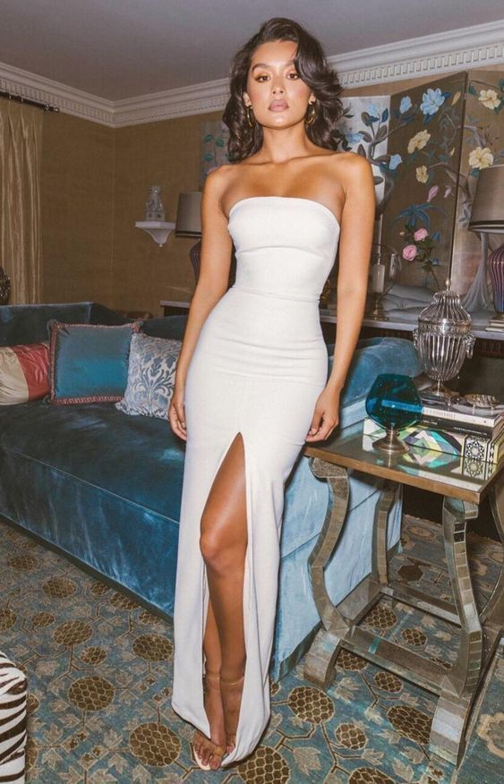 evening Dresses, Party prom dress with slit ,white prom dress M840