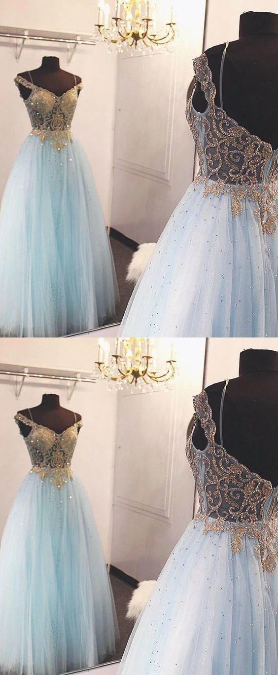 Elegant Tulle Blue Beaded Long Prom Dress, Evening Formal Dress T153