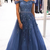Off the Shoulder Lace Tulle Long Prom Dresses Beaded Evening Dress