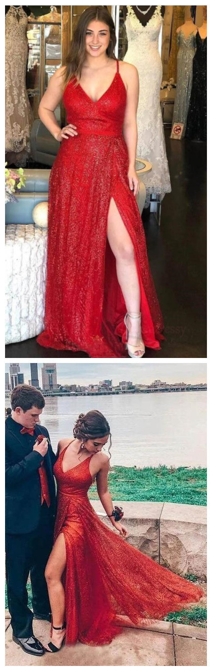 Sparkly V Neck A-Line Red Long Prom Dress with Slit
