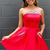 Cute Red Satin Short Homecoming Dress with Pockets