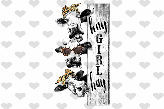 Hay Girl Hay Leopard Cow Ribbon Funny Heifer PNG