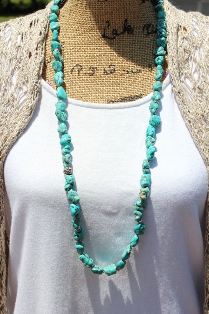 Bold Turquoise Necklace with leather Tassel Bohemian Glam Hand tied Jewelry by