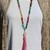Multi-Gem Stone Long Beaded Necklace with 2 Leather Tassels Hand-Knot Jewelry by