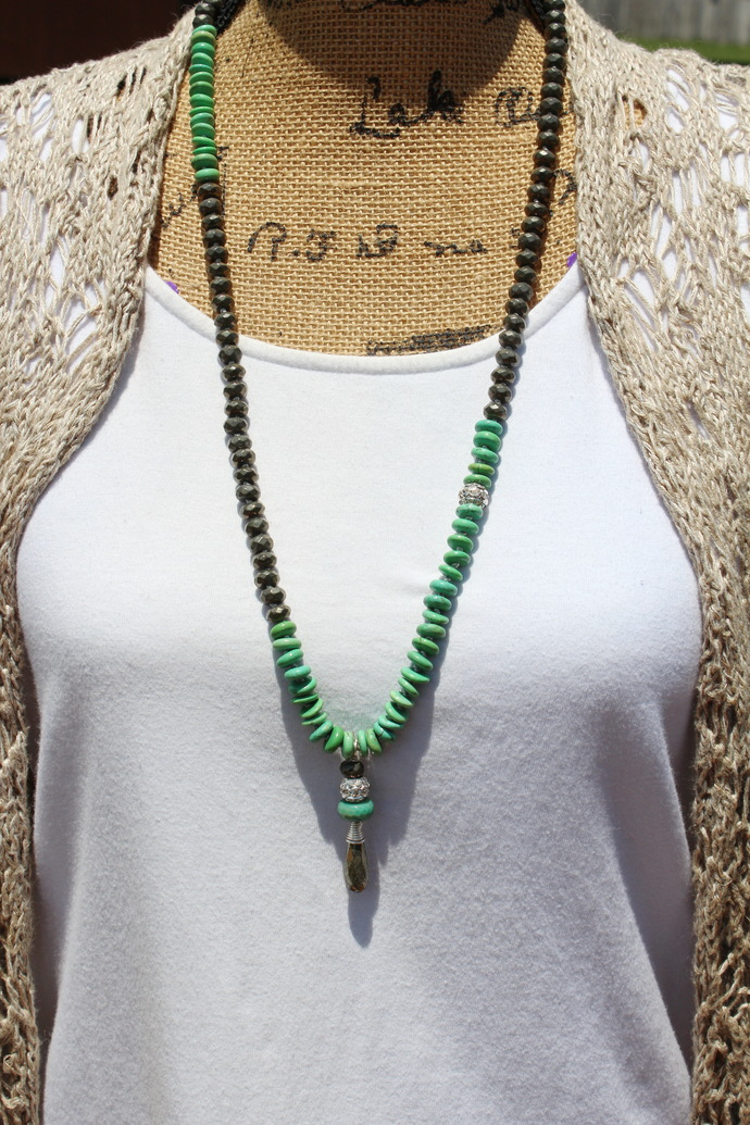 Turquoise & Pyrite Long Beaded Necklace with Pendant Jewellery by