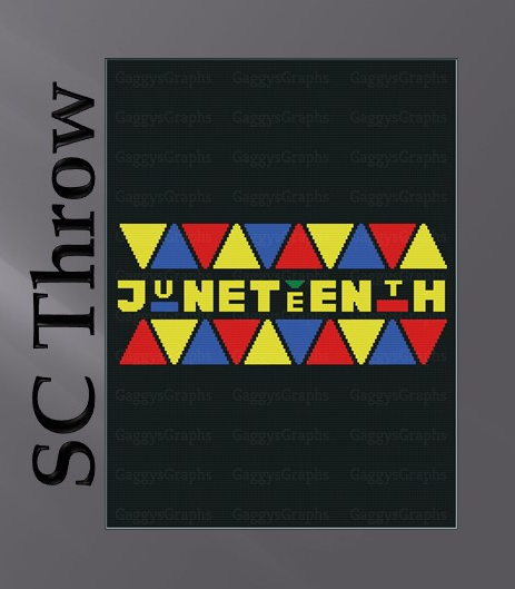 Colorful Juneteenth, Throw Size, Includes Graph, color coded written