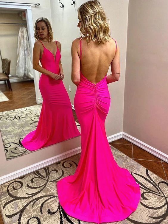 V Neck Hot Pink Mermaid Long Prom Dresses, Hot Pink Mermaid Formal Evening Dress