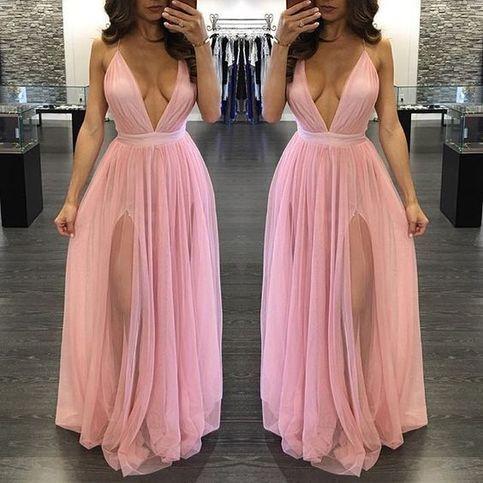 Long Popular Sexy Deep V Neck Split Tulle Prom Dresses M847