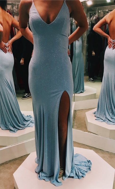 Prom Dresses Elegant,mermaid v neck silt prom dresses M853