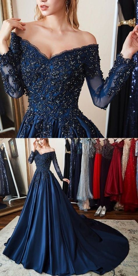 Prom Dress with Sleeves, Navy Blue Gorgeous Prom Dress M855