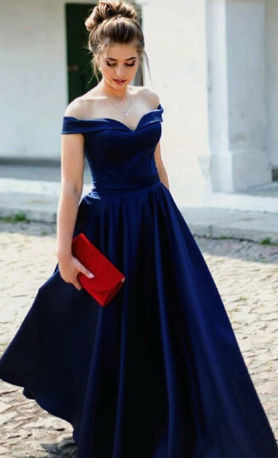 Navy Blue Long prom dress with off the shoulder M858