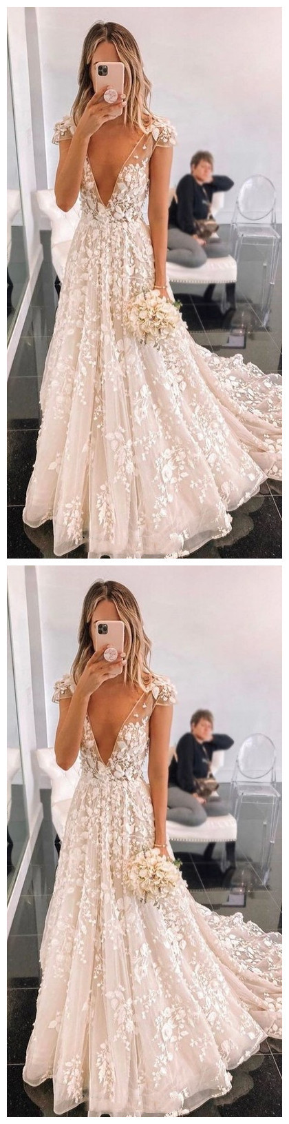 New Arrival Deep V neck Appliques Wedding Dress with Cap Sleeve