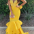 New Arrival V neck Yellow Mermaid Evening Dress with Appliques, Formal Dress
