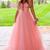 Elegant Pink Tulle V-neck Long Prom Dress, Formal Evening Dress