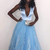 Fashion Deep V Neck Sleeveless Tulle A Line Prom Dress, Blue Lace Evening Dress