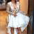 High Low V-Neck Long Sleeves White Lace Prom Dress