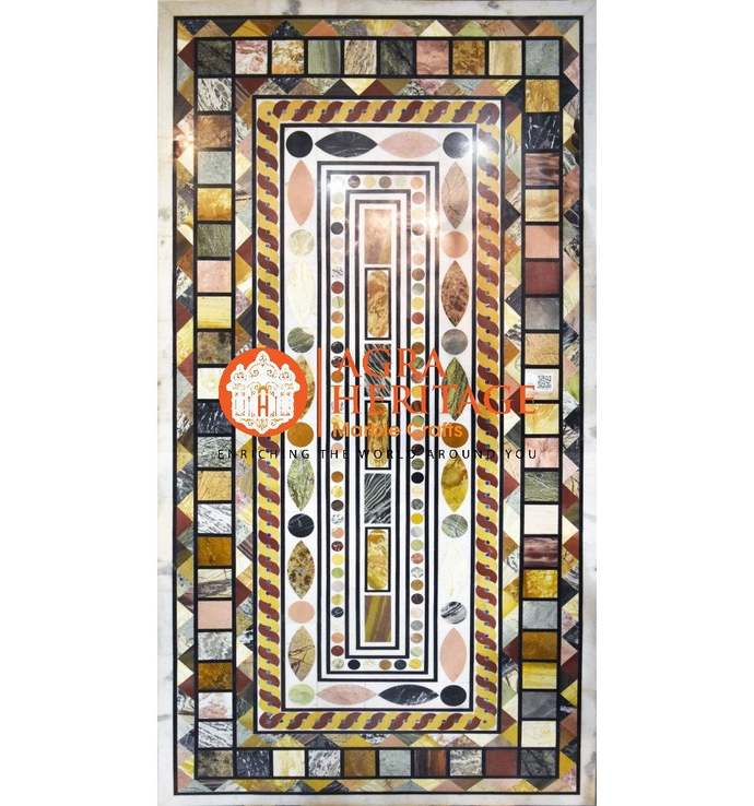 """94""""x47"""" White Marble Big Dining Top Conference Table Marquetry Mosaic inlay Art"""