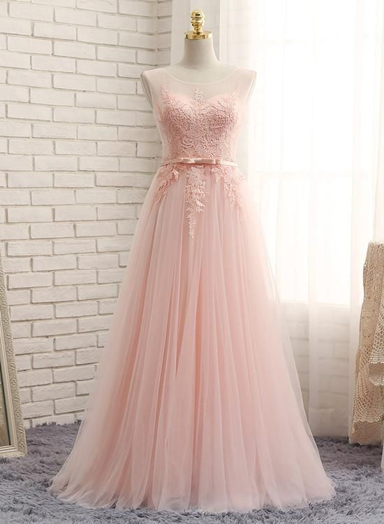 Light Pink Bridesmaid Dresses, Long Formal Gowns, Cute Party Dresses CR 14186