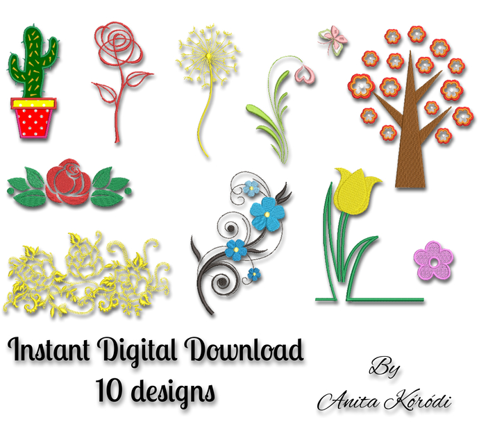Embroidery Machine Designs SET 10 items Flower Rose Digital instant Download in