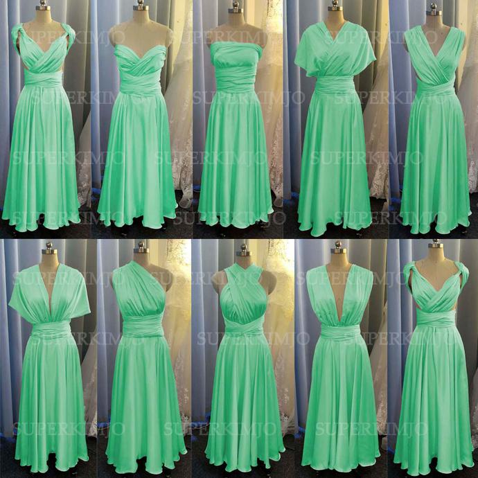 chiffon bridesmaid dresses long mint green cheap convertible infinite country