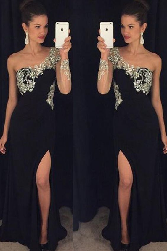 one shoulder black prom dresses long sleeve beaded elegant cheap chiffon prom