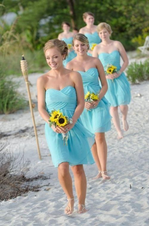 blue bridesmaid dresses short 2020 chiffon sweetheart neck cheap custom knee
