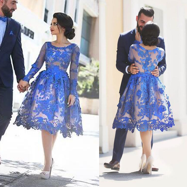 royal blue lace prom dresses short knee length long sleeve arabic elegant prom
