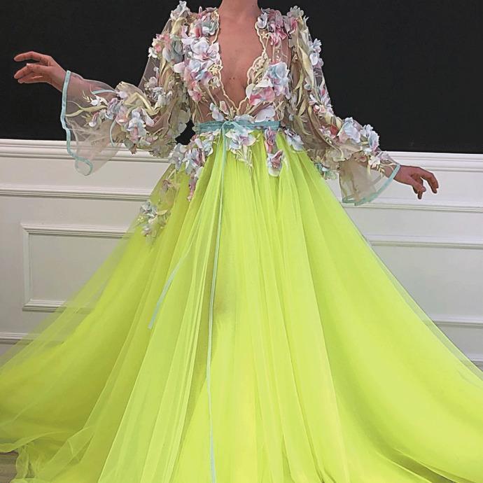 floral prom dresses 2021 flare sleeve lace applique elegant deep v neck prom