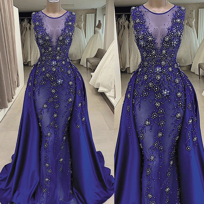royal blue prom dresses with detachable skirt beaded lace applique elegant