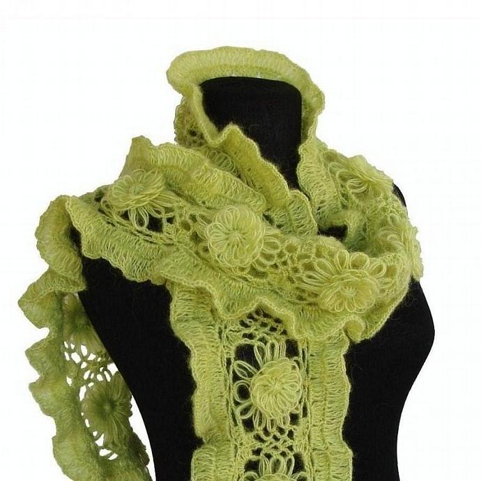 Handmade knit crochet vitamin frilly scarves wrap stole in green modern fall
