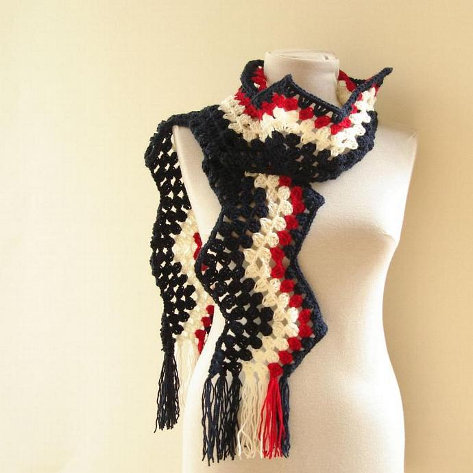 Chevron Crochet Scarf with Fringe for Men and Women - Granny square pattern -
