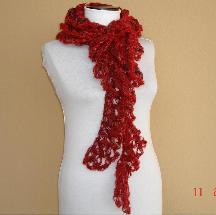 Red crochet mohair scarf  for winter - ruby red degrade mohair scarf