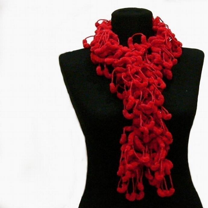 Red crochet pompon scarves