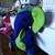 Hand Sewn Felt Elephant- royal blue and light green