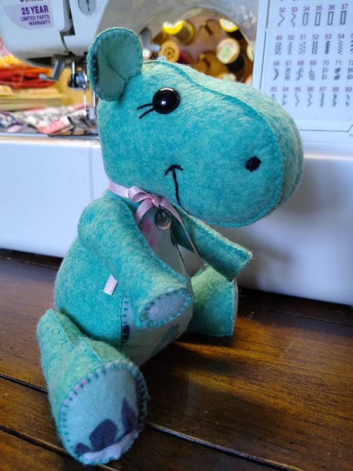 Hand Sewn Felt Hippo- leaping lizard green and floral
