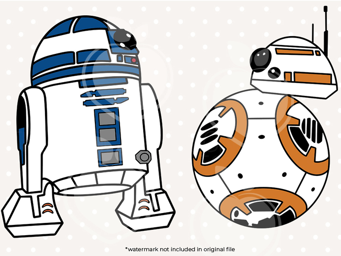 r2d2  svg bundle, bb8 svg, dxf, eps, png files cor circut and silhouette studio,