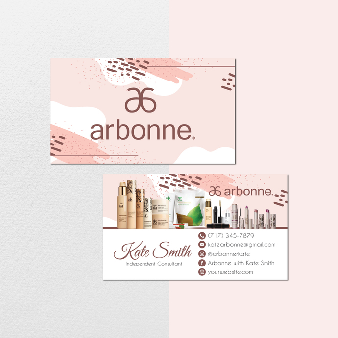 Personalized Arbonne Business Cards, Watercolor Arbonne Business Card, Custom