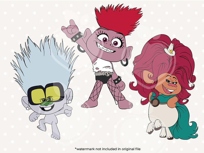 Trolls 2 svg files, Trolls 2 svg characters, clip art, cutfiles eps, dxf & png