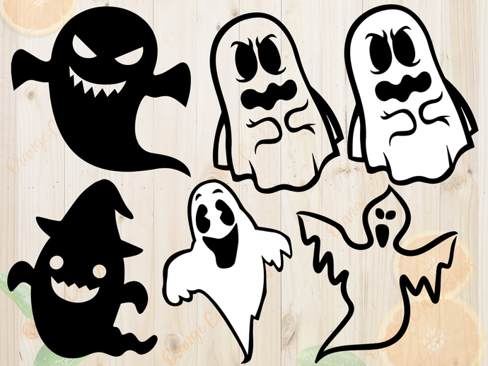 Ghost svg files, Ghost Silhouette, clip art, cutfiles eps, dxf & png files