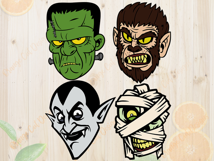 Monster svg files, Monster bundle, clip art, cutfiles eps, dxf & png files