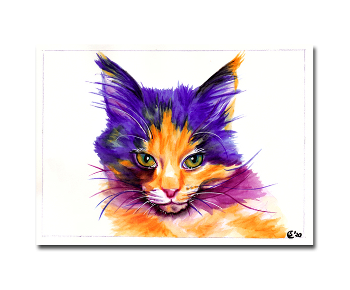 CAT 39 rainbow cotton candy kitten watercolor markers painting Sandrine Curtiss