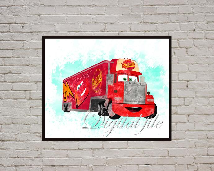 Mack Disney Pixar, Cars print, poster, nursery room, wall decor, Mack Cars