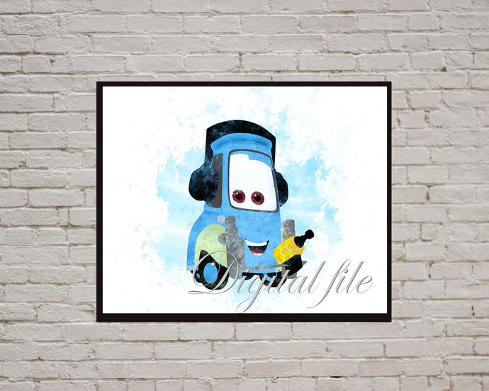 Cars Disney Pixar, Cars print, poster, nursery room, wall decor, Cars watercolor