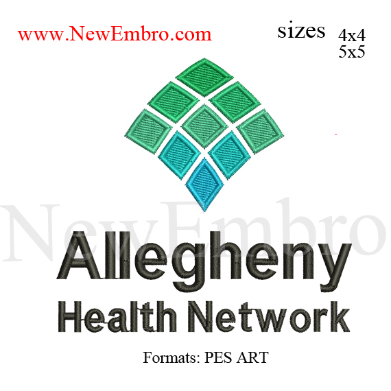 custom embroidery design,allegheny health embroidery design,allegheny logo