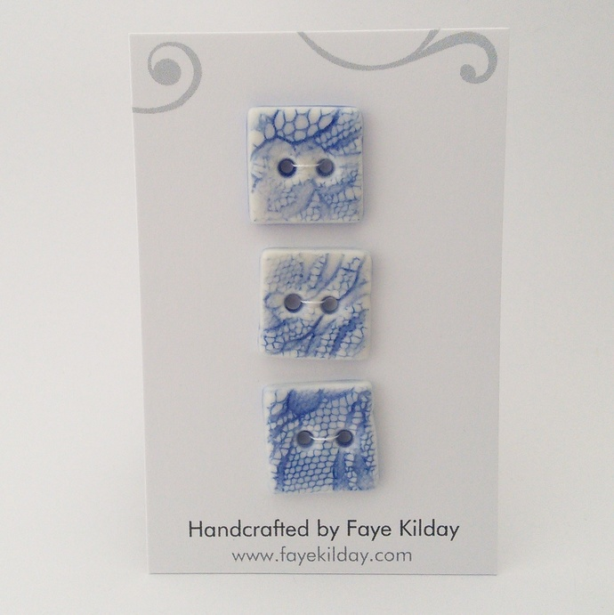 Ceramic Buttons Blue Squares - Set of 3