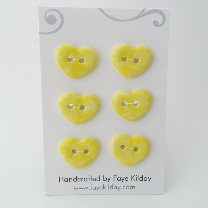 Ceramic Buttons Yellow Hearts - Set of 6