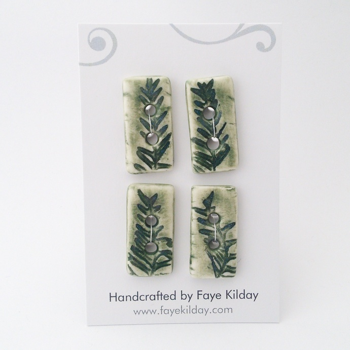 Ceramic Buttons Green Fern Rectangles - Set of 4
